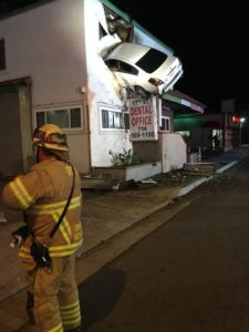 Fly Car Crashes into 2nd Floor of Building